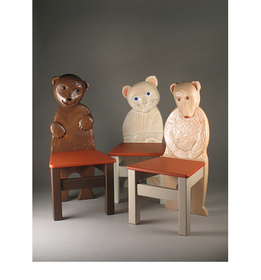 Kids' Chairs, carved by Paul Reiber