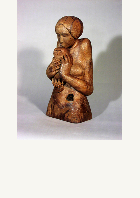 Woman and Owl, sculpture by wood carver Paul Reiber