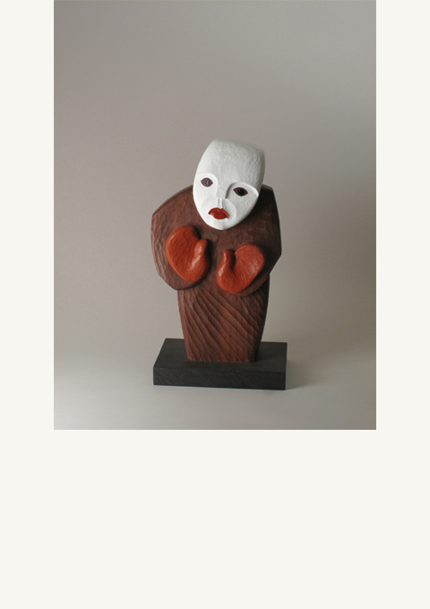 Stela Series #2, White Face, sculpture by wood carver Paul Reiber, sculpture by wood carver Paul Reiber