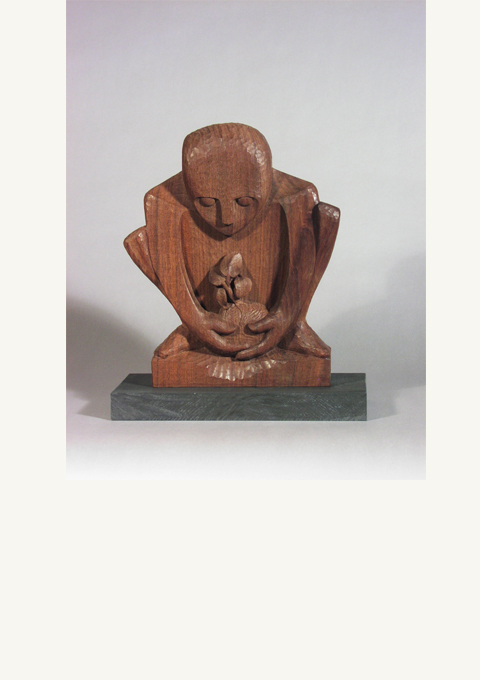 Stela Series #3, The Grower, sculpture by wood carver Paul Reiber, sculpture by wood carver Paul Reiber