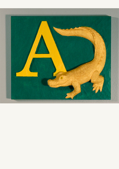 A is for Alligator, carved panel by wood carver Paul Reiber