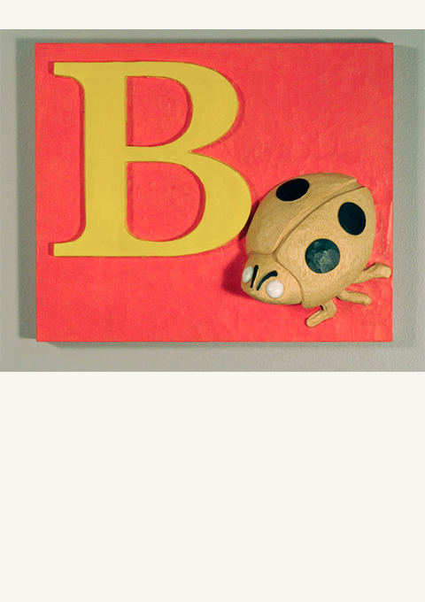 B is for Bug, carved panel by wood carver Paul Reiber