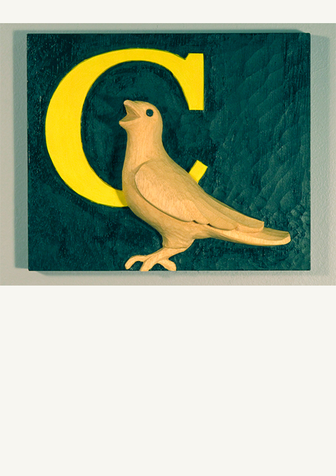 C is for Crow, carved panel by wood carver Paul Reiber
