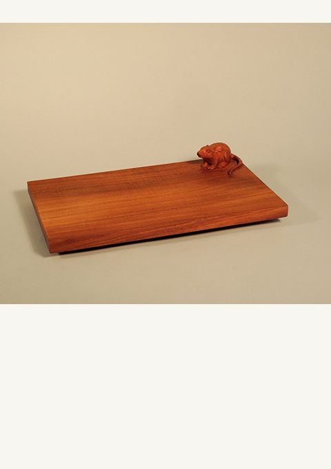 Cheese Board with Mouse, carved by wood carver Paul Reiber