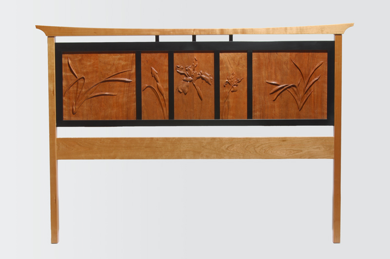 Cherry Headboard, furniture by wood carver Paul Reiber