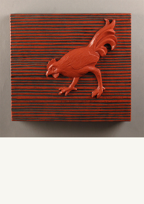 Chicken #4, carved panel by wood carver Paul Reiber