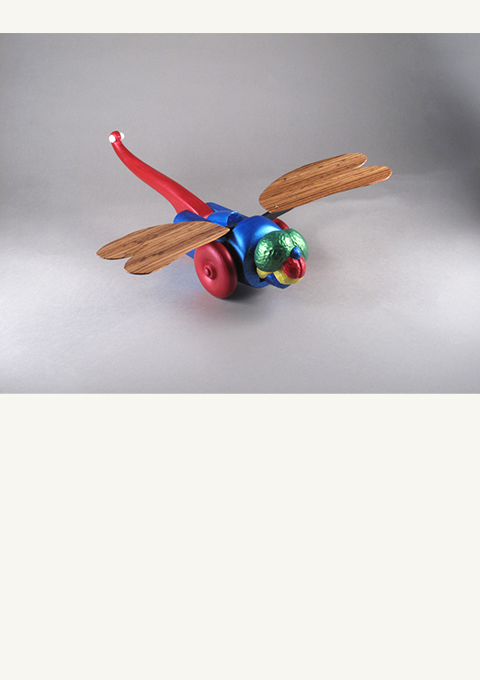 Dragonfly Pull Toy, carved by wood carver Paul Reiber