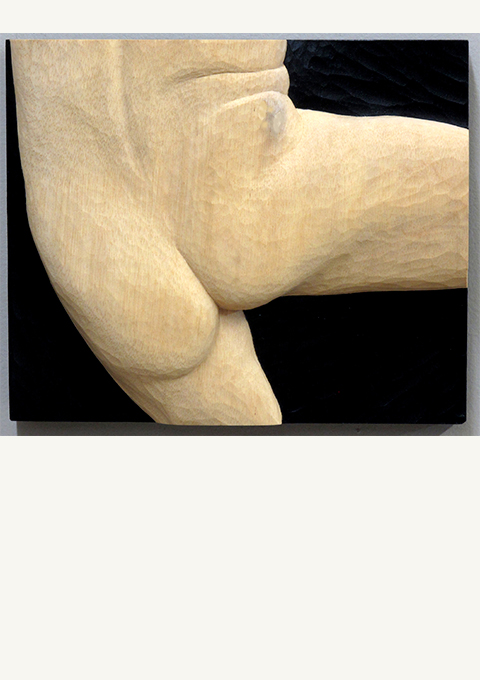 Figure Study #24, carved panel by wood carver Paul Reiber