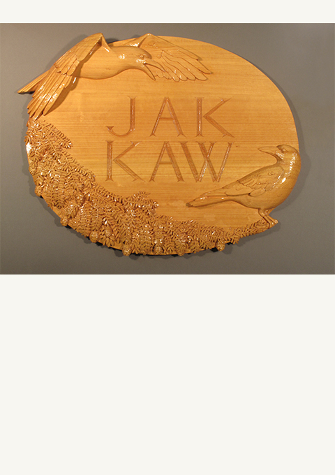 JAK KAW House Sign, carved by wood carver Paul Reiber