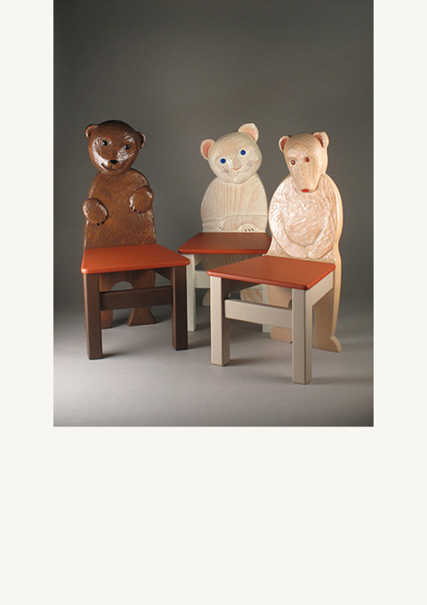 Kids' Chairs, carved by wood carver Paul Reiber