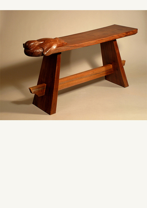 Loon Bench, furniture by wood carver Paul Reiber