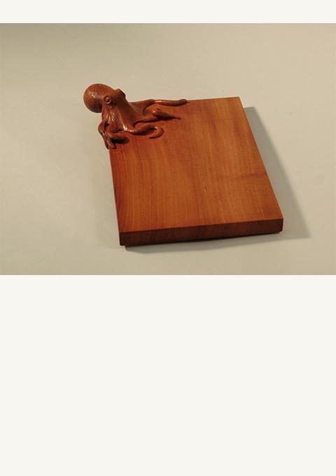 Octopus Bread Board, carved by wood carver Paul Reiber