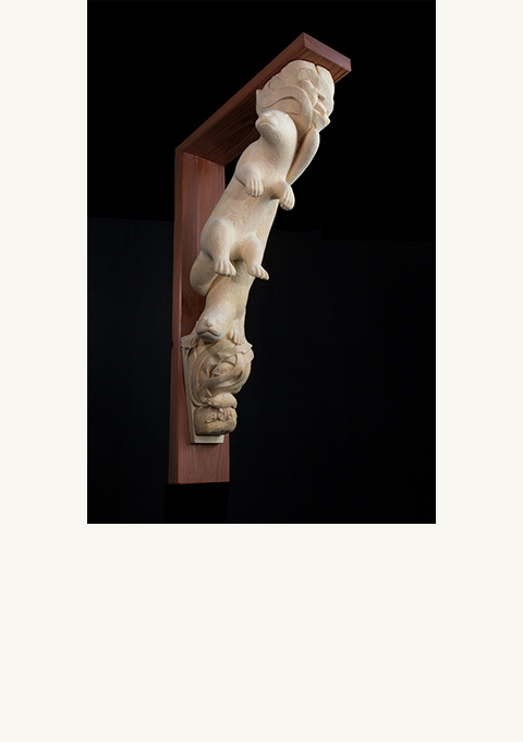 Otter Corbel, sculpture by wood carver Paul Reiber