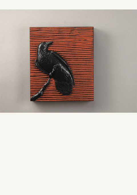 Raven #4, carved panel by wood carver Paul Reiber