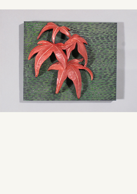 Red Leaf #1, carved panel by wood carver Paul Reiber