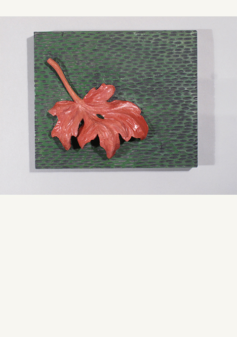 Red Leaf #3, carved panel by wood carver Paul Reiber