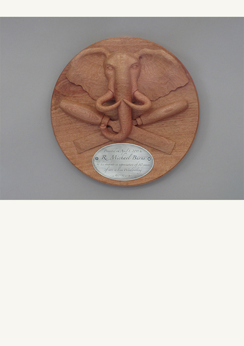 Retirement Award with Elephant, carved by wood carver Paul Reiber