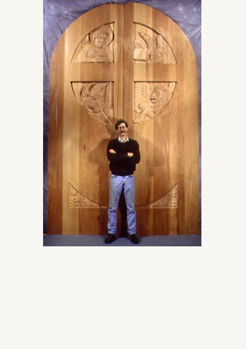 St. May of All Angels Church Doors, carved wooden doors by wood carver Paul Reiber