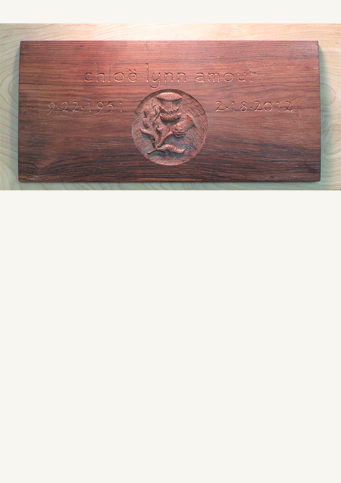 Urn Box Lid, carved by wood carver Paul Reiber
