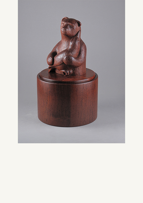 Urn with Bear and Raven, carved by wood carver Paul Reiber